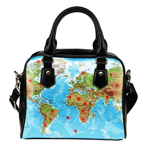 Valentine's Day Special World Map Print Shoulder Handbag- Free Shipping