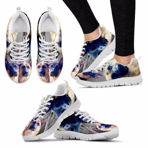 Customized Dog 3D Print (White/Black) Running Shoes For Women Designed By Laurel Cowell-Free Shipping
