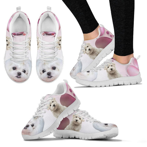 Maltese Pink White Print Running Shoes For Women-Free Shipping