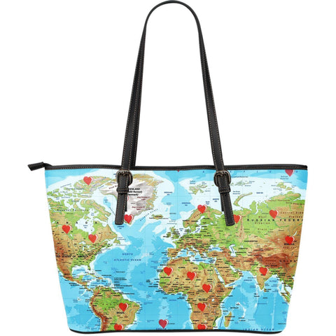 Valentine's Day Special World Map Print Large Leather Tote Bag- Free Shipping