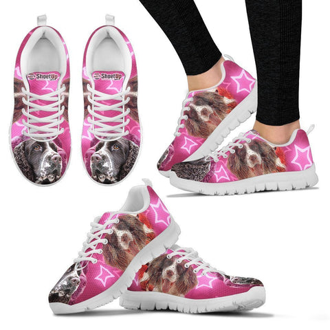 English Springer Spaniel On Pink Print Running Shoes For Women- Free Shipping