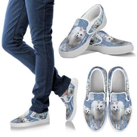 Cute Samoyed Dog Print Slip Ons For Women-Express Shipping