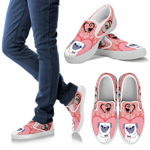 Valentine's Day Special-Pug Dog Print Slip Ons For Women-Free Shipping