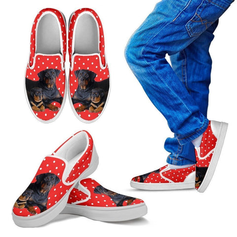 Rottweiler Dog Print Slip Ons For Kids-Express Shipping