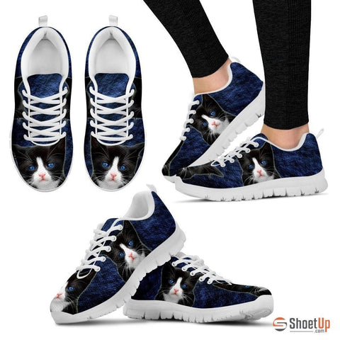 Ojos Azules Cat (Black/White) Running Shoes For Women-Free Shipping