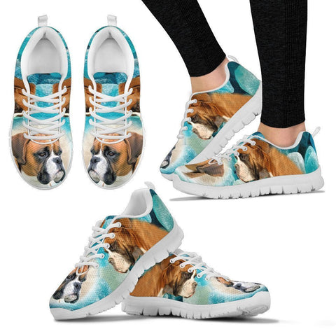 Boxer Dog Print Sneakers For Women- Free Shipping