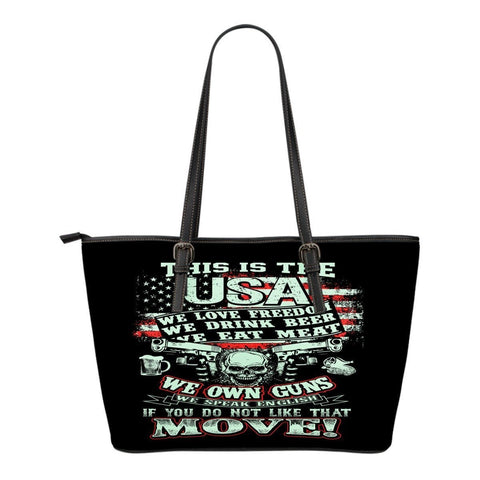 This Is USA We Own Guns-Small Leather Tote Bag-Free Shipping