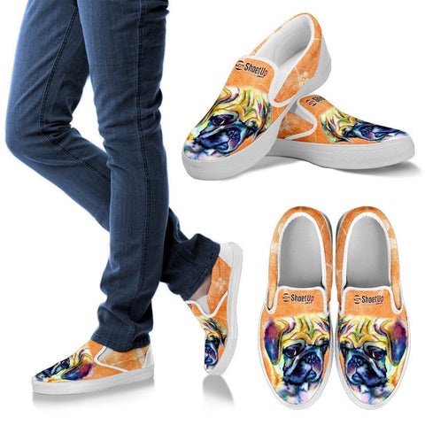 Pug Dog Neon Print Slip Ons For Women-Free Shipping