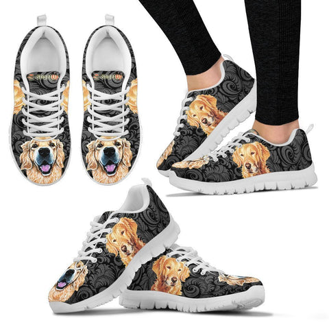 Golden Retriever On Black-Women's Running Shoes-Free Shipping