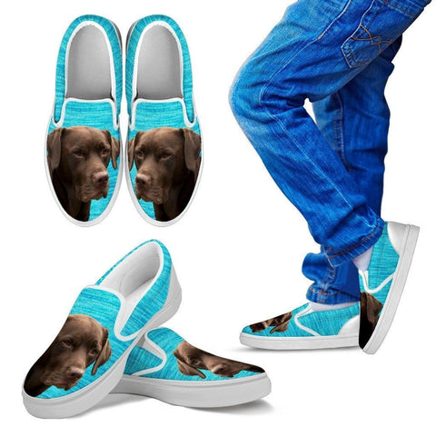 Labrador Retriever (Chocolate) Print-Slip Ons For Kids-Express Shipping