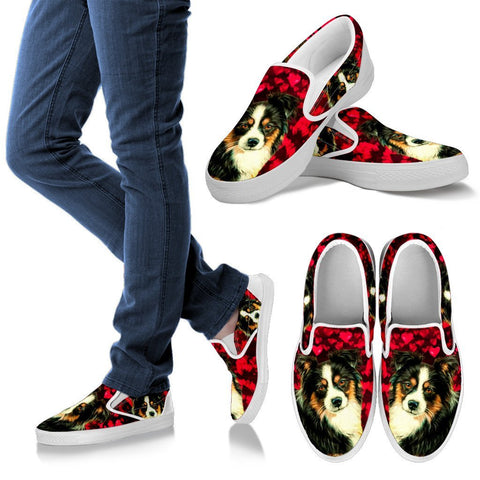 Valentine's Day Special-Australian Shepherd Dog Print Slip Ons Shoes For Women-Free Shipping