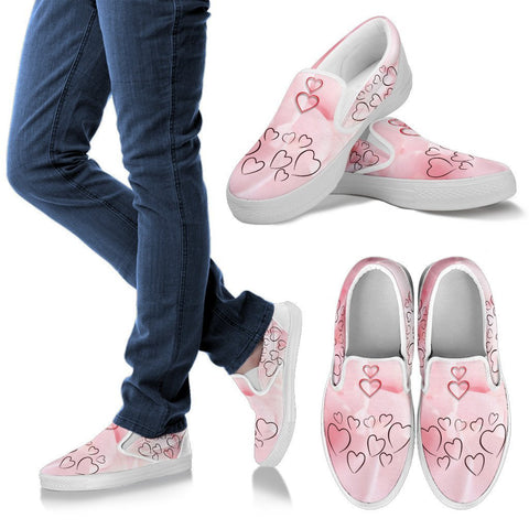 Valentine's Day Special Heart Print Slip Ons For Women- Free Shipping