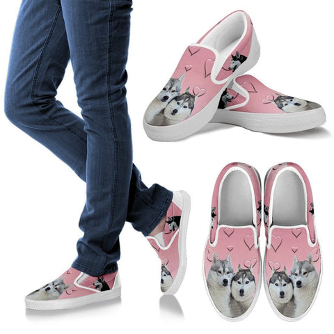 Valentine's Day Special-Siberian Husky Print Slip Ons For Women-Free Shipping