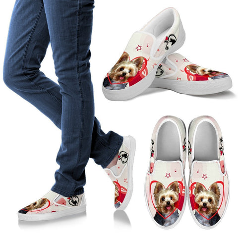 Valentine's Day Special Yorkshire Terrier Print Slip Ons For Women- Free Shipping