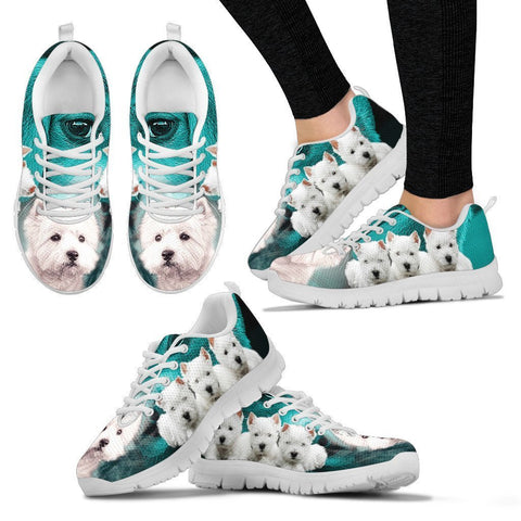 West Highland White Terrier On Deep Skyblue Print Sneakers For Women- Free Shipping