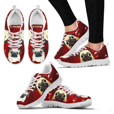 Pug On Red-Women's Running Shoes-Free Shipping