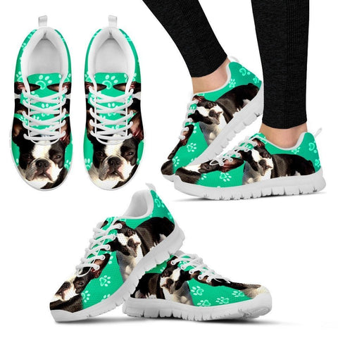 Boston Terrier Paws Print (Black/White) Running Shoes For Women-Free Shipping
