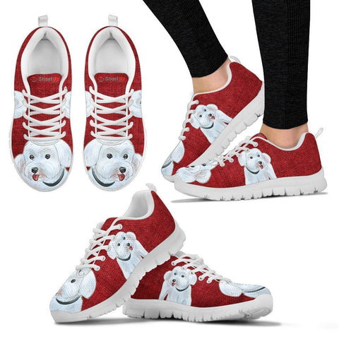 Cute Maltese Red Print Running Shoes For Women-Free Shipping