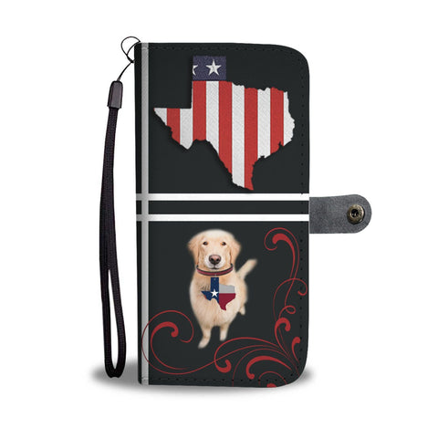 Cute Golden Retriever Print On Black Wallet Case-Free Shipping-TX State