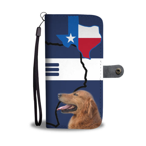 Golden Retriever Print On Red Blue Wallet Case-Free Shipping-TX State