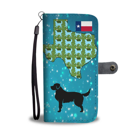 Golden Retriever Pattern Print Wallet Case-Free Shipping-TX State