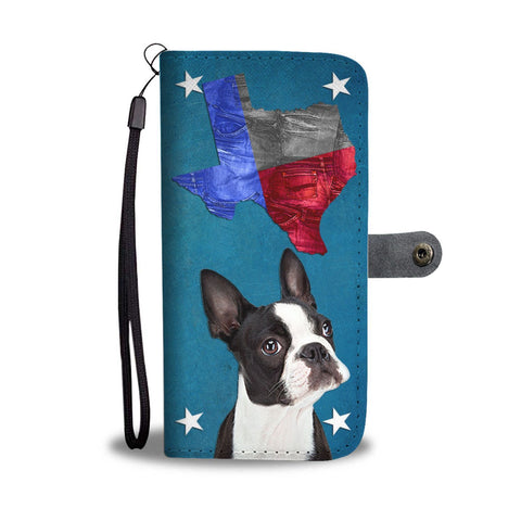 Cute Boston Terrier Print Wallet Case- Free Shipping-TX State