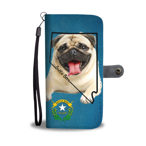 Pug Dog Print Wallet Case- Free Shipping-NV State