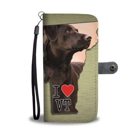 Chocolate Labrador Print Wallet Case-Free Shipping-VT State