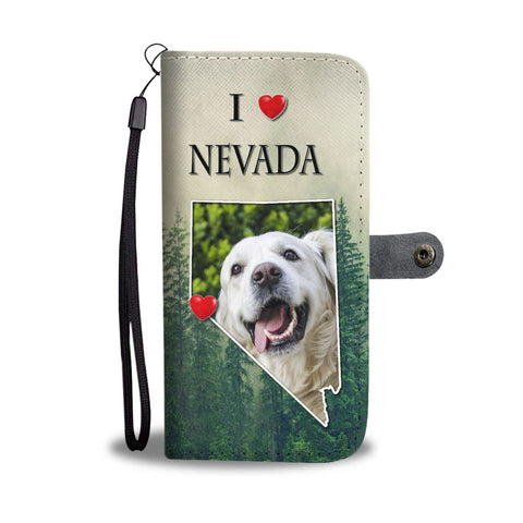 Cute Golden Retriever Print Wallet Case-Free Shipping-NV State