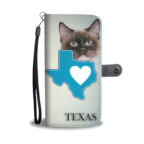Birman Cat Print Wallet Case-Free Shipping-TX State