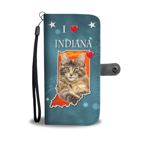 Lovely Maine Coon Cat Print Wallet Case-Free Shipping-IN State