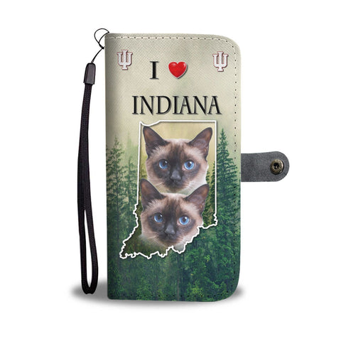Lovely Siamese Cat Print Wallet Case Print-Free Shipping-IN State