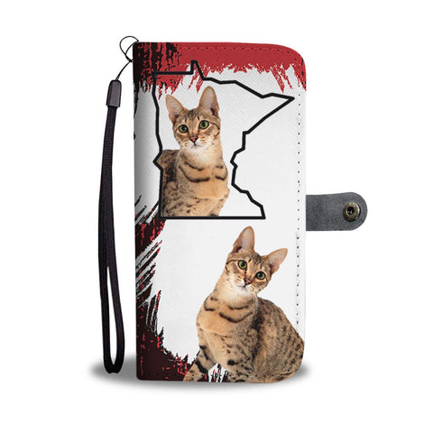 Amazing Savannah cat Print Wallet Case-Free Shipping-MN State