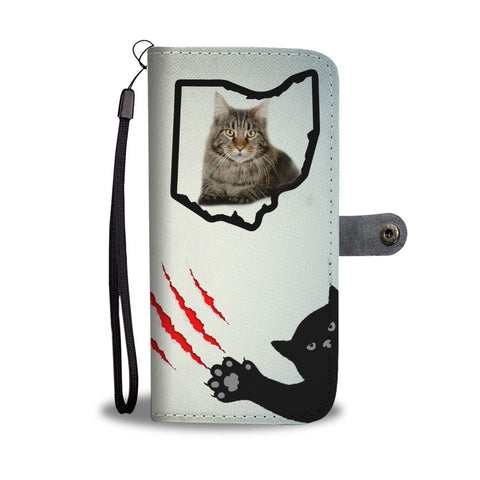 Maine Coon Cat Print Wallet Case-Free Shipping-OH State
