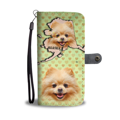 Lovely Pomeranian Dog Print Wallet Case-Free Shipping-AK State