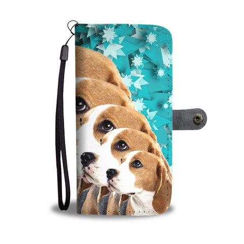Lovely Beagle Dog Christmas Print 3D Wallet Case-Free Shipping