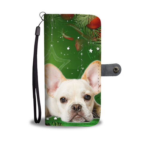 Cute French Bulldog On Christmas Print Wallet Case-Free Shipping
