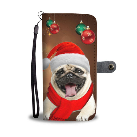 Cute Pug On Christmas Print Wallet Case-Free Shipping