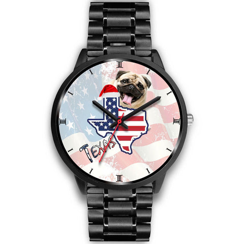 Pug Dog Texas Christmas Special Wrist Watch-Free Shipping