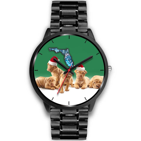 Cute Shar Pei On Christmas Florida Wrist Watch-Free Shipping