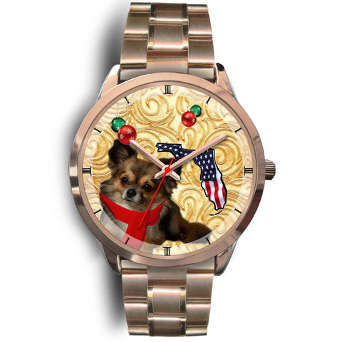 Chihuahua Dog On Christmas Florida Golden Wrist Watch-Free Shipping