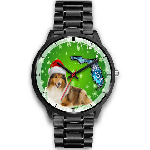 Rough Collie On Christmas Florida Wrist Watch-Free Shipping