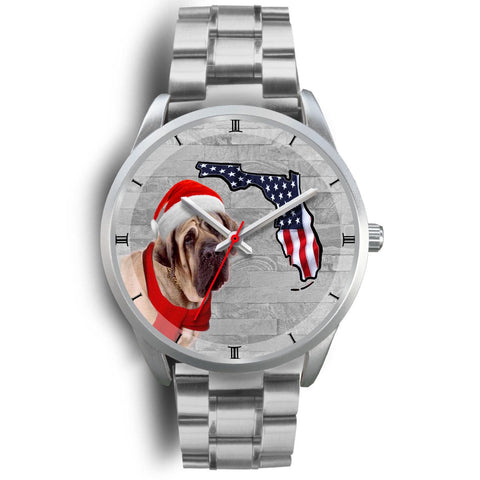 English Mastiff On Christmas Florida Silver Wrist Watch-Free Shipping