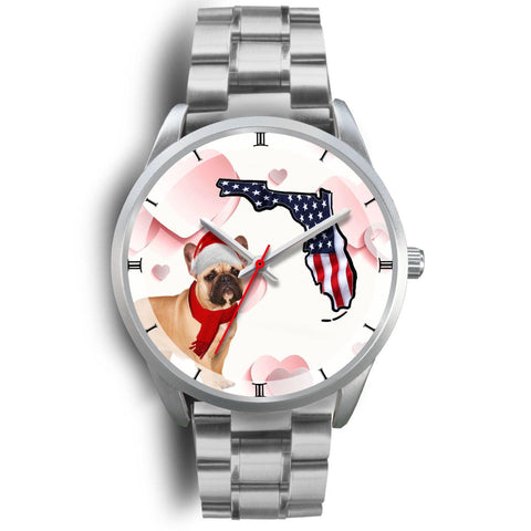 French Bulldog On Christmas Florida Silver Wrist Watch-Free Shipping