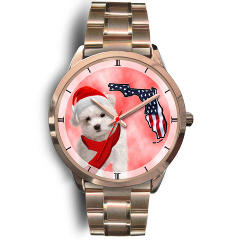 Cute Maltese On Christmas Florida Golden Wrist Watch-Free Shipping