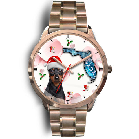 Miniature Pinscher On Christmas Florida Golden Wrist Watch-Free Shipping