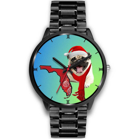 Pug Dog On Christmas Florida Wrist Watch-Free Shipping