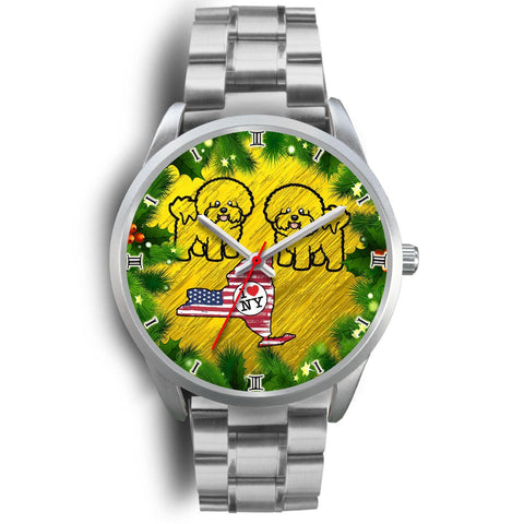 Bichon Fries Dog Art New York Christmas Special Wrist Watch-Free Shipping