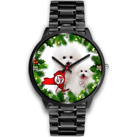 Lovely Bichon Fries Dog New York Christmas Special Wrist Watch-Free Shipping