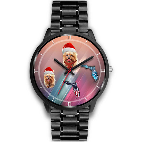 Yorkshire Terrier On Christmas Florida Wrist Watch-Free Shipping